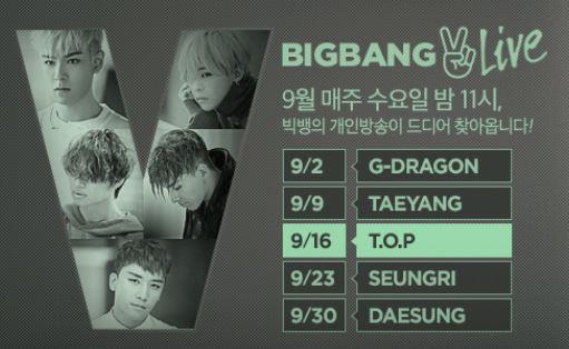 【予告】BIG BANG 個人放送 第3回はTOP, 4回はスンリ, 最終回はテソンに決定!!