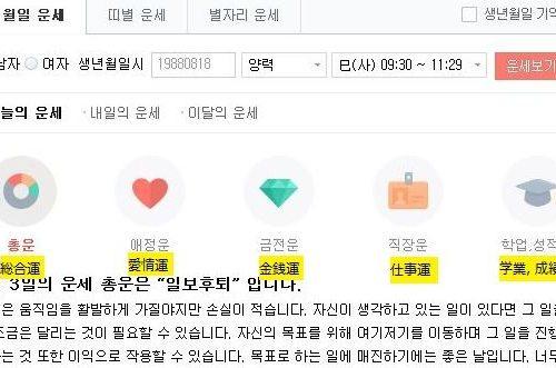 韓国版NAVER占い 使い方ガイド(韓国語学習に役立つかも)